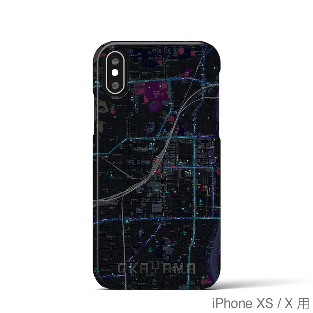 【岡山2】地図柄iPhoneケース(バックカバータイプ・ブラック)