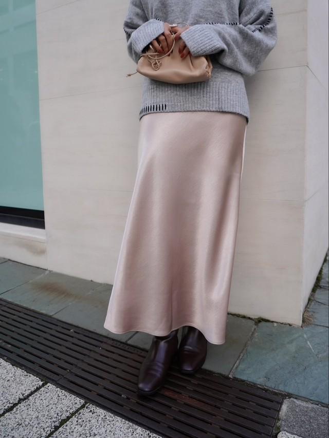 satin long skirt / pink beige (即納)