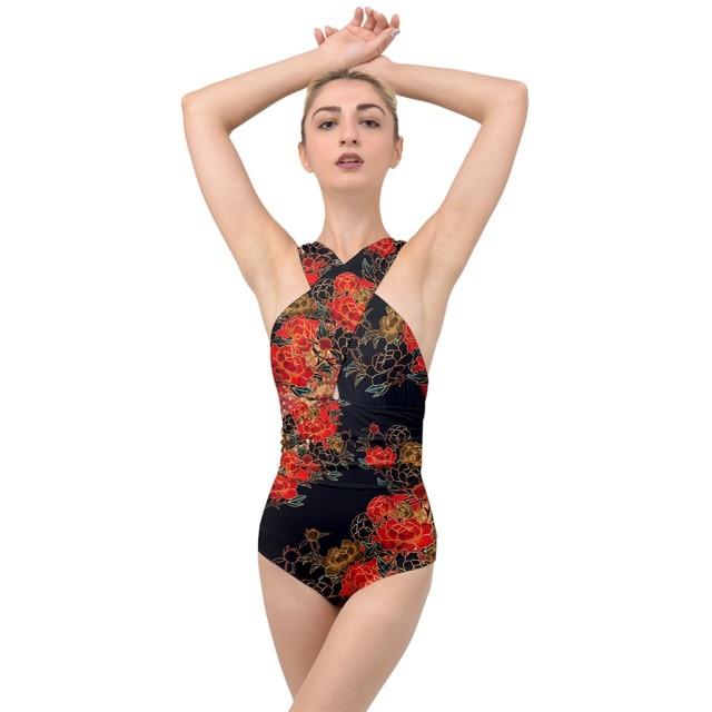 牡丹家紋Black Cross Front Swimsuit