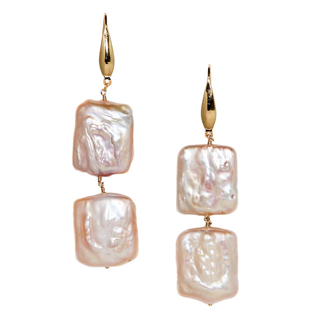 double square pearl pierce / earring