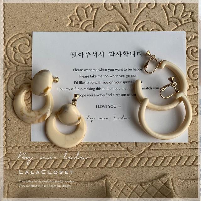 【即納】10%OFF Marble earrings / イヤリング / by no. Lala