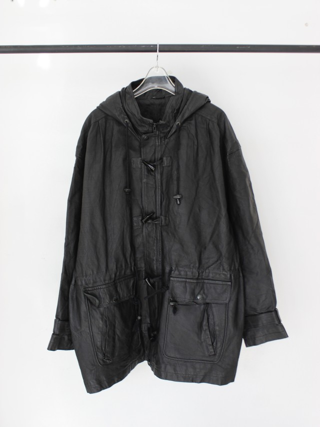 Used leather duffle coat