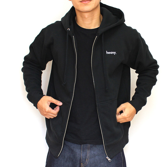 sweat zip parka BLACK - メイン画像