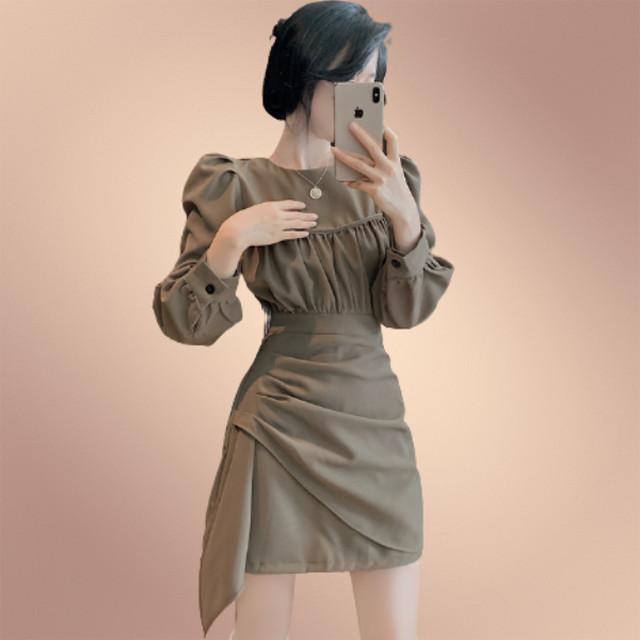 【ワンピース】韓国風ファッションデザイン不規則切り替えスリムハイウエスト女性らしい カジュアルワンピース42482436