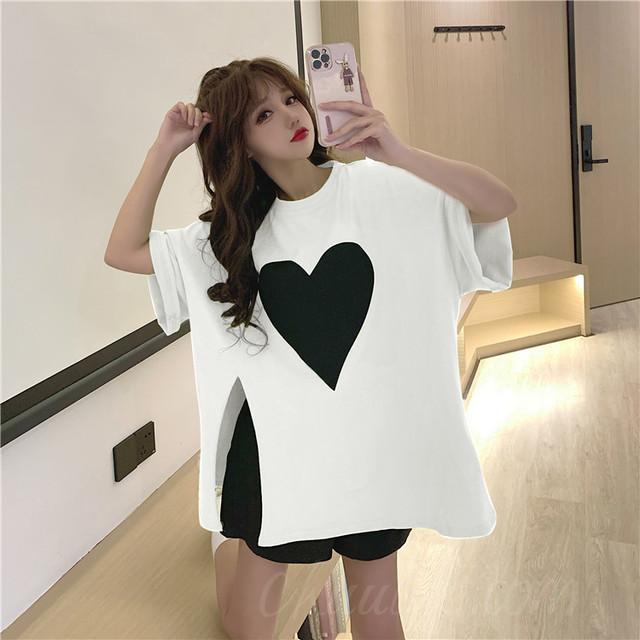【トップス】韓国系半袖ラウンドネックプルオーバースリットTシャツ47079653