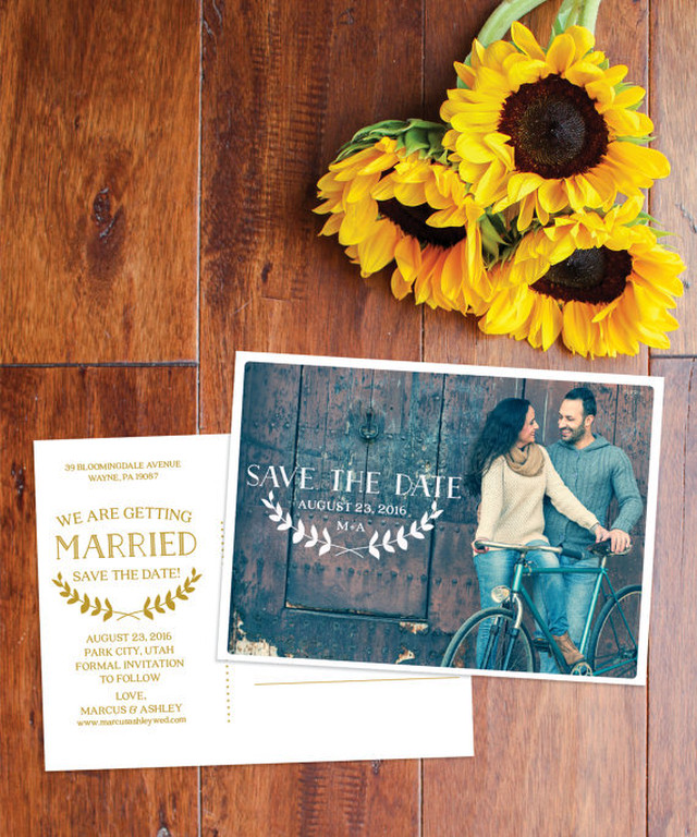 【ヴィンテージ】オーダーメイド♥︎海外風セーブザデートカード│SAVE THE DATE CARD ポストカード 結婚式 婚約 ウェディング