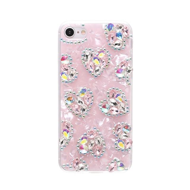 iPhone ケース 韓国 ハートビジューケース シェル風 キラキラ 個性的 シンプル 大人 可愛い おしゃれ iPhone7 iPhone8 iPhoneSE2 iPhoneX iPhoneXs iPhoneXR iPhone11 iPhone11Pro スマホケース 携帯ケース