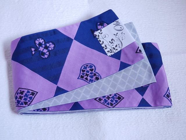 【mo-10】 リバーシブル半幅帯 紺と紫のトランプ柄 グレーの斜め格子