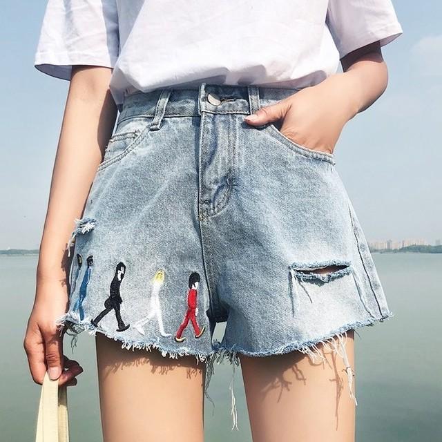 【ボトムス】カジュアルストリート系刺繍ハイウエストショートパンツ19534117
