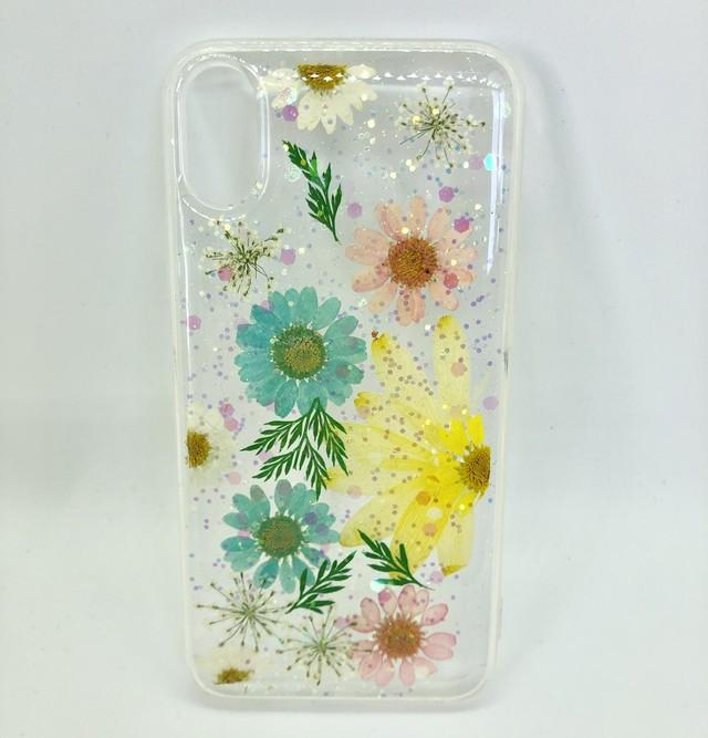iPhoneケース iPhone X iPhone XS iPhone レディース  押し花 生花 ソフトケース カバー 綺麗 可愛い