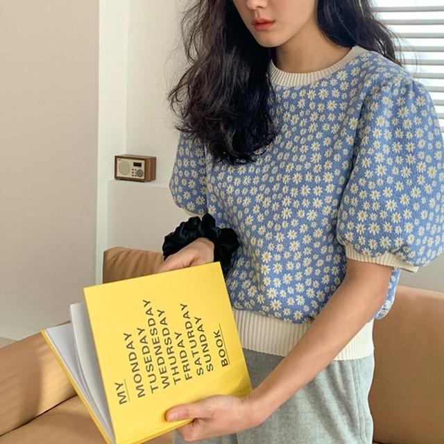 【即納】50%OFF Daisy puff sleeve / カットソー / LE-97