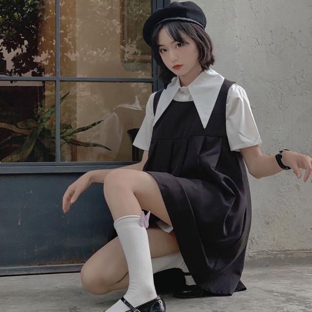 2点セット セットアップ レディースファション 着痩せ 可愛い デート 韓国風 カジュアル シンプル 折り襟 半袖 トップス シャツ ノースリーブ ワンピース フリーサイズ 激安 可愛い ブラック 黒い ホワイト 白い