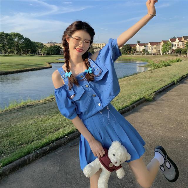 【セット】「単品注文」ファッション半袖ボートネックシングルブレストショート丈シャツ+スカート45498514