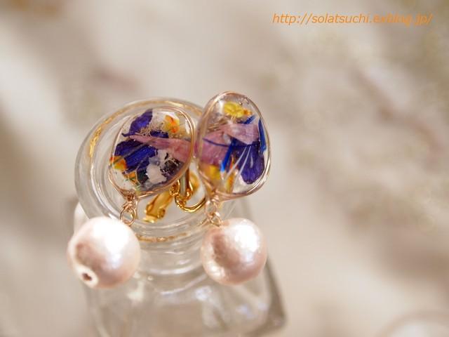 青花とコットンパールのイヤリング