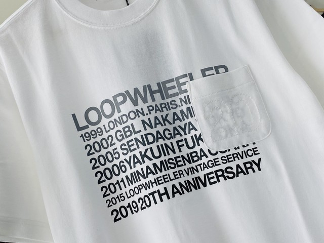 LOOPWHEELER 20TH POCKET TEE WHITE MEDIUM 50JF7011
