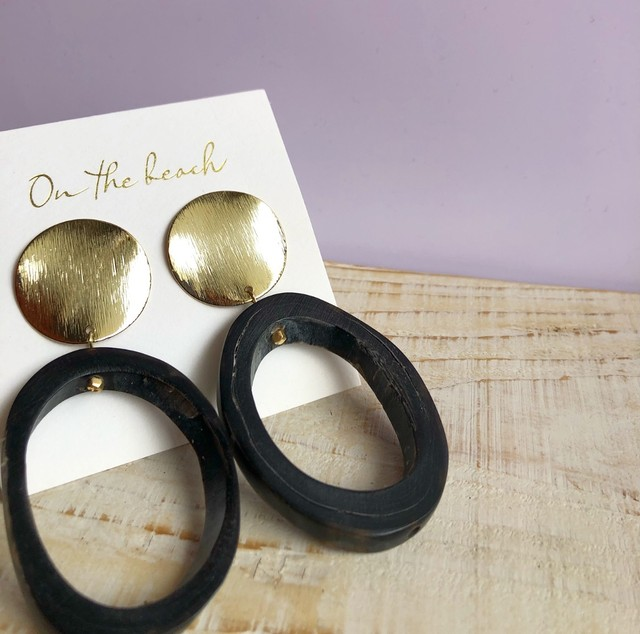 Buffalo horn pierced earrings / OTB-72