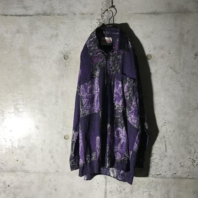 [used]purple like patchwork shirt