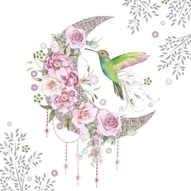 入荷しました|2020春夏【Paperproducts Design】バラ売り2枚 ランチサイズ ペーパーナプキン Hummingbird Moon ホワイト
