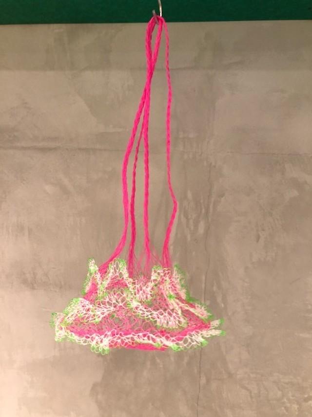 網の店おおやま / 網ポシェット ピンクひも ピンク×白×黄緑
