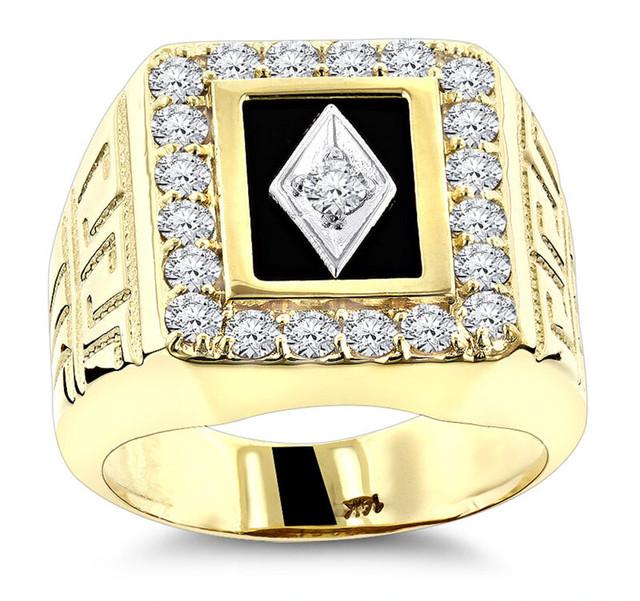 BLACK ONYX AND DIAMOND RINGS 14K GOLD RING 1.68CT