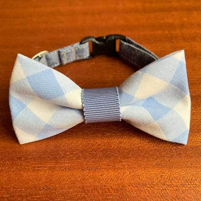 【送料無料】猫の首輪 リボン首輪 グログランリボン BIGリボン 太目チェック&ブルー