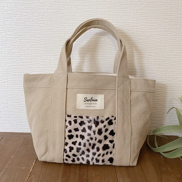 Tote bag S - Beige / Cheetah Ver.3