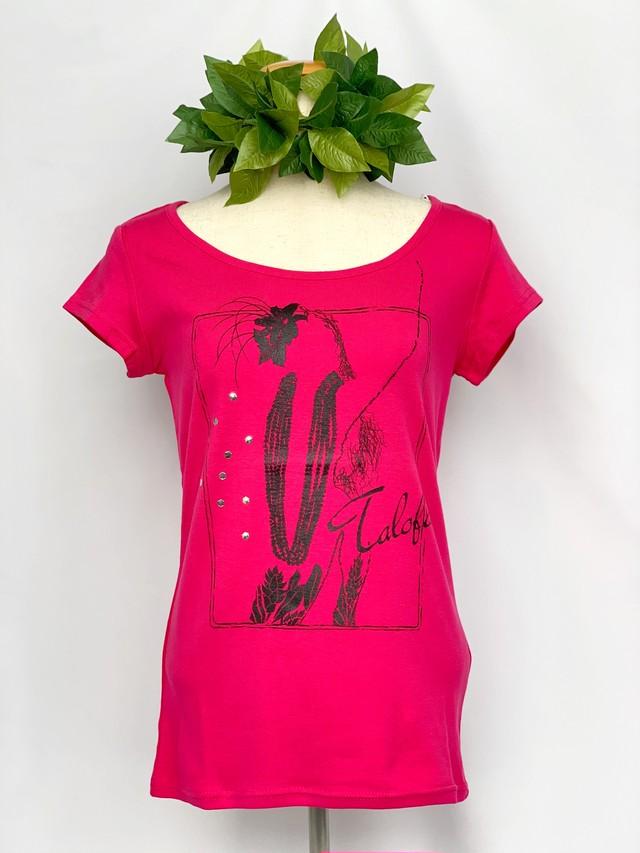 【Mauna loa/マウナロア/MMJ】ストレッチTシャツ 半袖 ピンクレイ フラ レッスン着に最適○ おしゃれなフレンチスリーブ