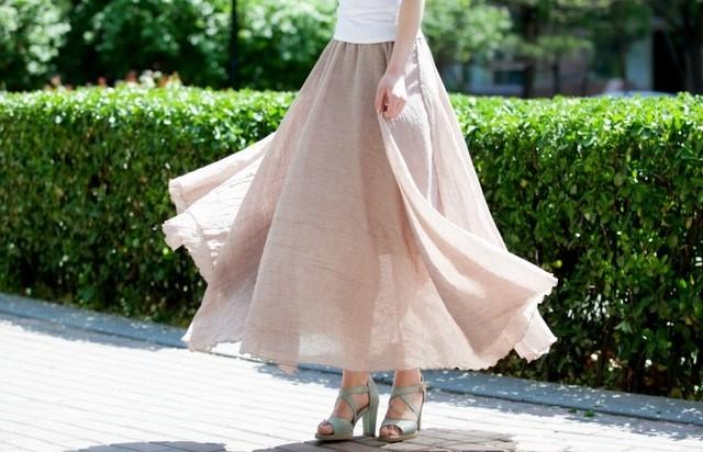 ロングスカート スカート フレア フリーサイズ 淡色 レディース