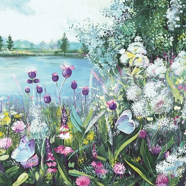 2021春夏新作【Ambiente】バラ売り2枚 ランチサイズ ペーパーナプキン Lake View グリーン