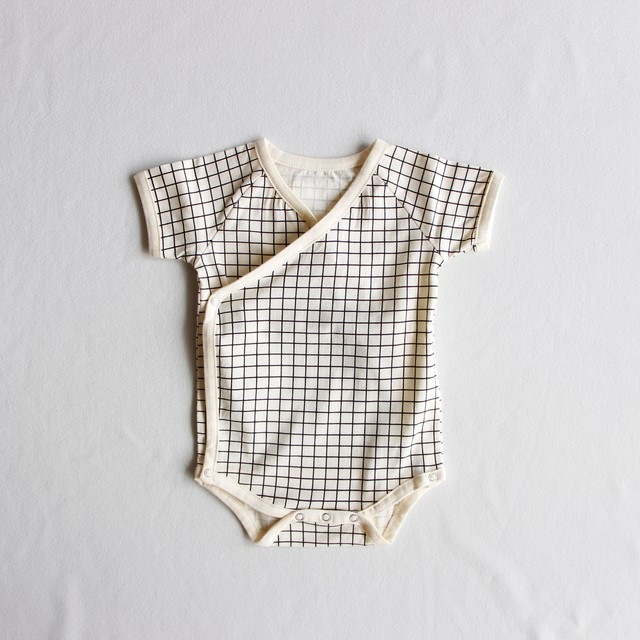 《chocolatesoup》GEOMETRY rompers / grid / one size(70-80cm)