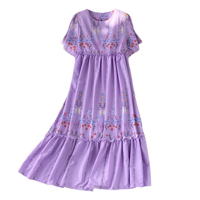 フラワー ラウンドネック ロング ドレス【R1093】