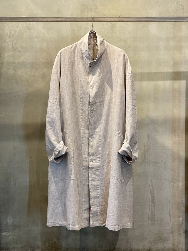 pre-fix linen work coat - soot / garment dyed effect