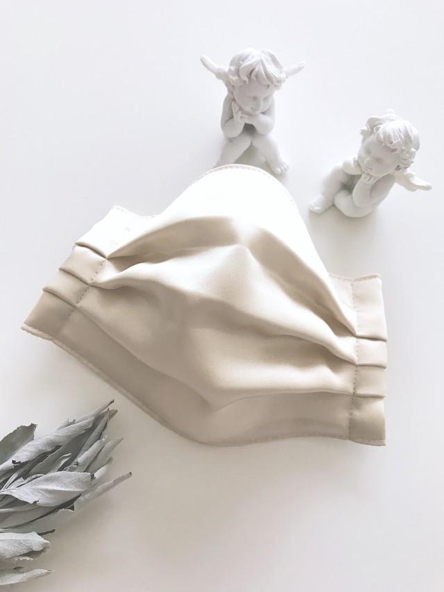 【布マスク】シルク&抗菌・抗ウィルスコットンガーゼ ベージュ/プレミアムゴムタイプ