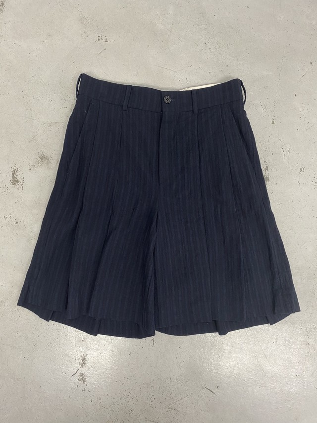 M A S U /  PLEATED WOOL SHORTS (DK-NAVY)