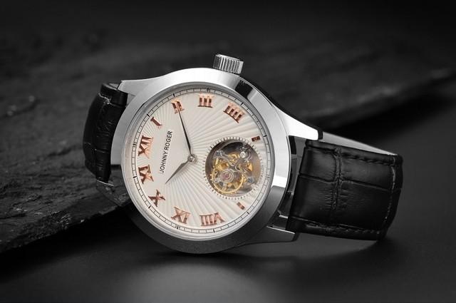 【JOHNNY ROGER chevalier silver 】フライングトゥ-ルビヨン メンズ パワーリザーブ 手巻き腕時計