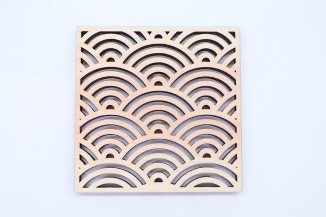縁起模様のひのきコースター【青海波】2枚セット
