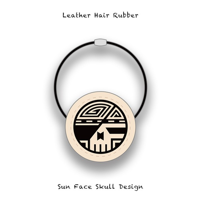 Leather Hair Rubber / Sun Face Skull Design 003