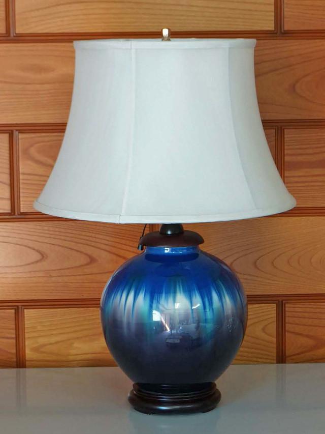 九谷焼スタンドランプ 釉彩丸形 6寸