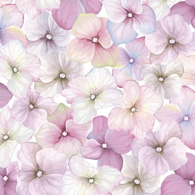 【Daisy】バラ売り2枚 ランチサイズ ペーパーナプキン PINK HYDRANGEA PATTERN パープル