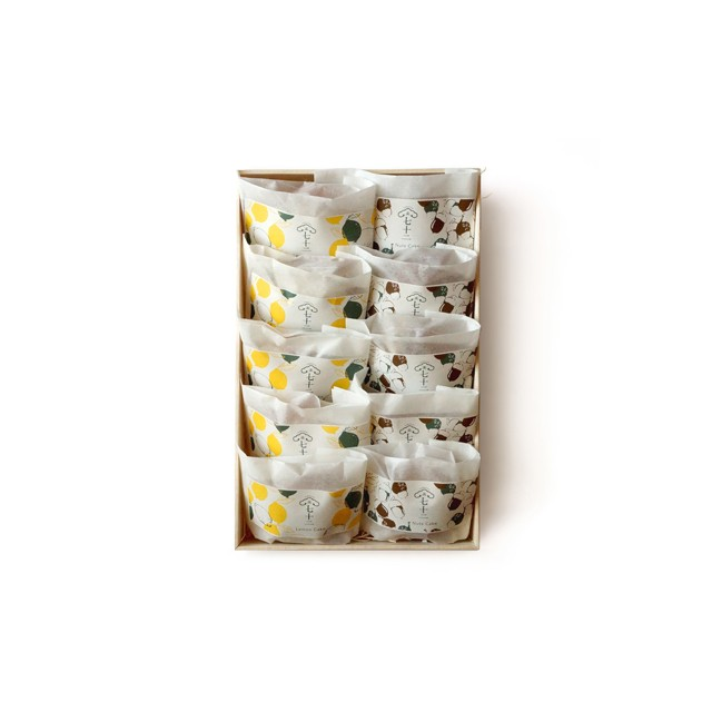 木箱入り 果子ケーキ10個入り(レモン5、木の実5)