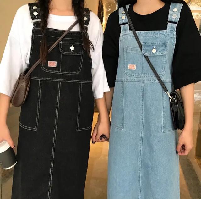 【送料無料】 人気のデニムジャンスカ♡ ゆったり カジュアル ミモレ丈 ワンピース ジャンパースカート