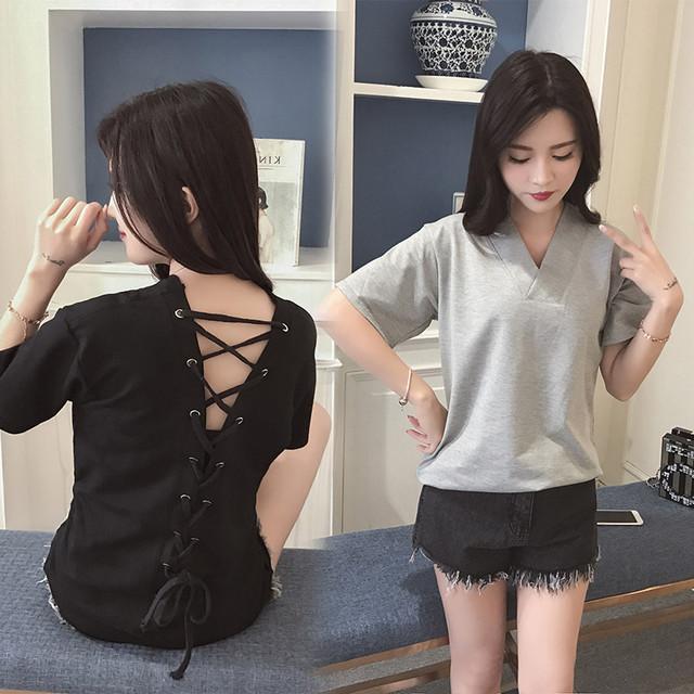 【トップス】シンプル半袖ラウンドネックプルオーバー透かし彫りTシャツ48749608