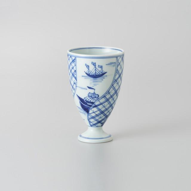 """【青花】""""長崎紋"""" フリーカップ[中](捻り長崎紋)"""
