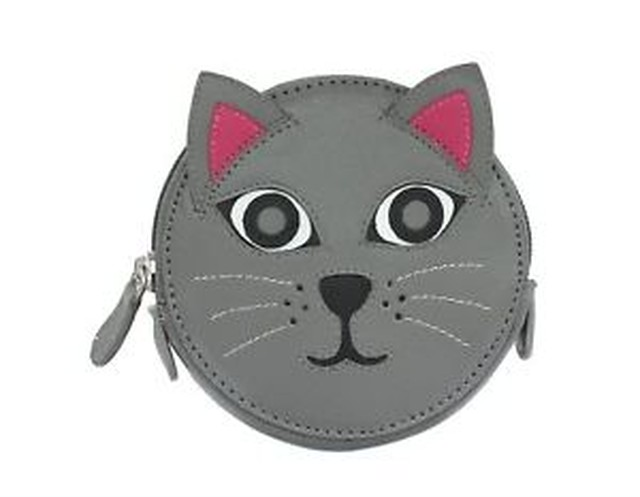 【送料無料】デザインラウンドレザーコインmala leather animal design round leather coin purse 4155_11 cat