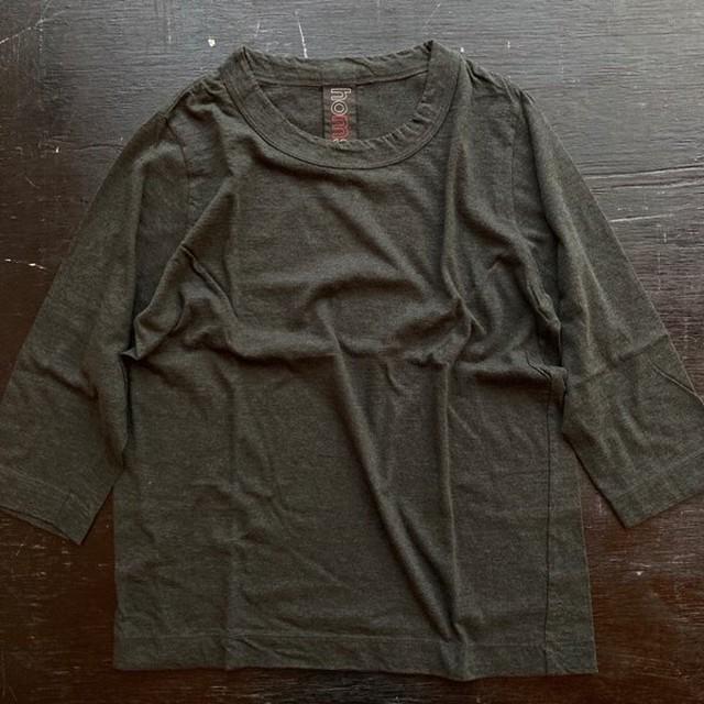 homspun (ホームスパン) 天竺七分袖Tシャツ ダークグリーン