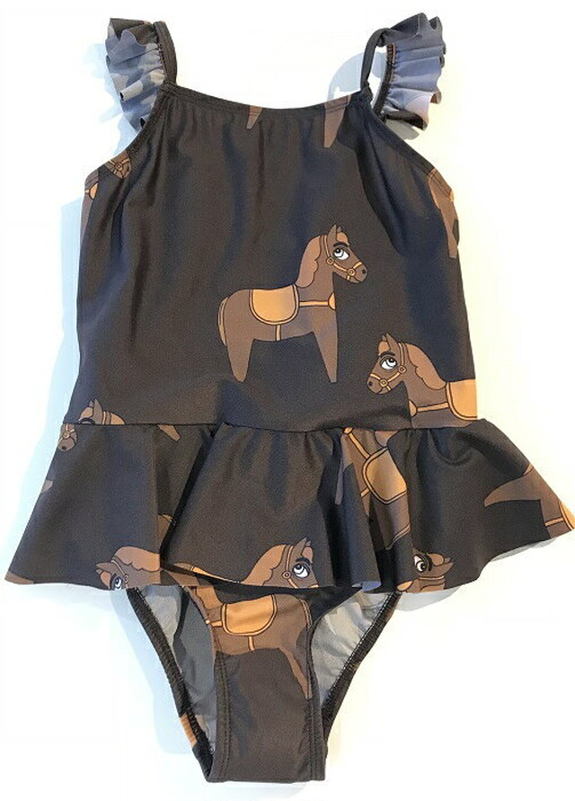 ミニロディーニ(minirodini) - HORSE SKIR SWIMSUIT【BROWN】[80/86・92/98・104/110・116/122]水着