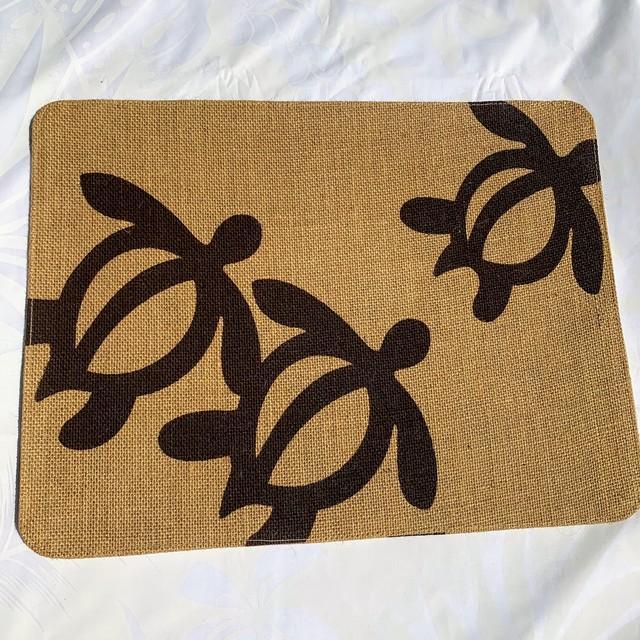 Hula Lehua ホヌがかわいいハワイアンジュートマルチマット