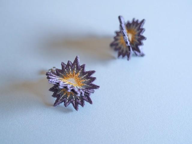 ARRO / Embroidery Earrings / SPUTNIK / grey