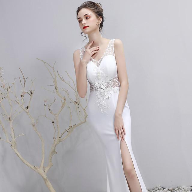 ホワイト 刺繡 レース 再入荷 超人気 ロングドレス ミニドレス YN2042