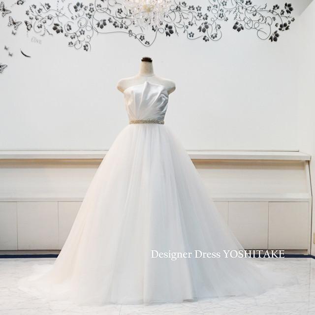 ウエディングドレス(Aラインパニエ付) 白ドレス/ウエストビジュー 挙式用